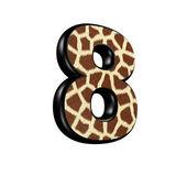 3d digit with giraffe fur texture - 8 — Stockfoto