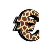 3d currency sign with giraffe fur texture — Stock Photo