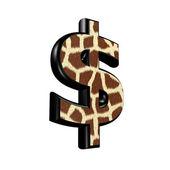 キリン毛皮テクスチャと 3 d のドル通貨記号 — ストック写真