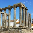 Stock Photo: Roman temple and cathedral tower of Evora, Portugal.