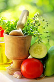 Utensils and ingredients of mediterranic cuisine. — Stock Photo