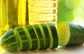 Cucumber slices, oliveoil and vinegar. — Stock Photo
