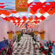 Flowery streets, traditional party, Redondo village, Portugal. — Stockfoto