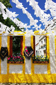 Flowery streets, traditional party, Redondo village, Portugal. — Stock Photo