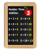 Number three addition tables on a blackboard — Stock Photo