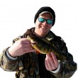 Fisherman with perch isolated — Stock Photo