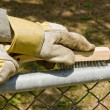 Wire brushing a fence - Stock Photo
