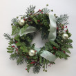 Green Christmas wreath - Stock Photo
