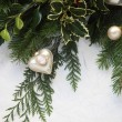 Christmas greenery with cameo ornament - Stock Photo