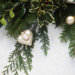Christmas greenery with cameo ornament - Zdjęcie stockowe