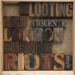 Riots, looting words - Stock Photo