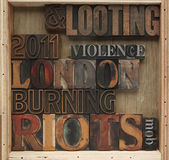 Riots, looting words — Stock Photo