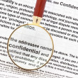 Closeup of magnifying glass on security related text on letter with sensitive business documents in background. For privacy and confidentiality, security and pr — Stock Photo #5424302