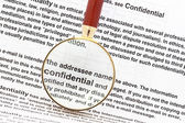 Closeup of magnifying glass on security related text on letter with sensitive business documents in background. For privacy and confidentiality, security and pr — Stock Photo