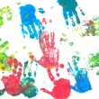 Colored hands print - 图库照片