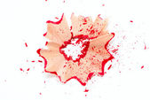 Red pencil shavings — Stock Photo