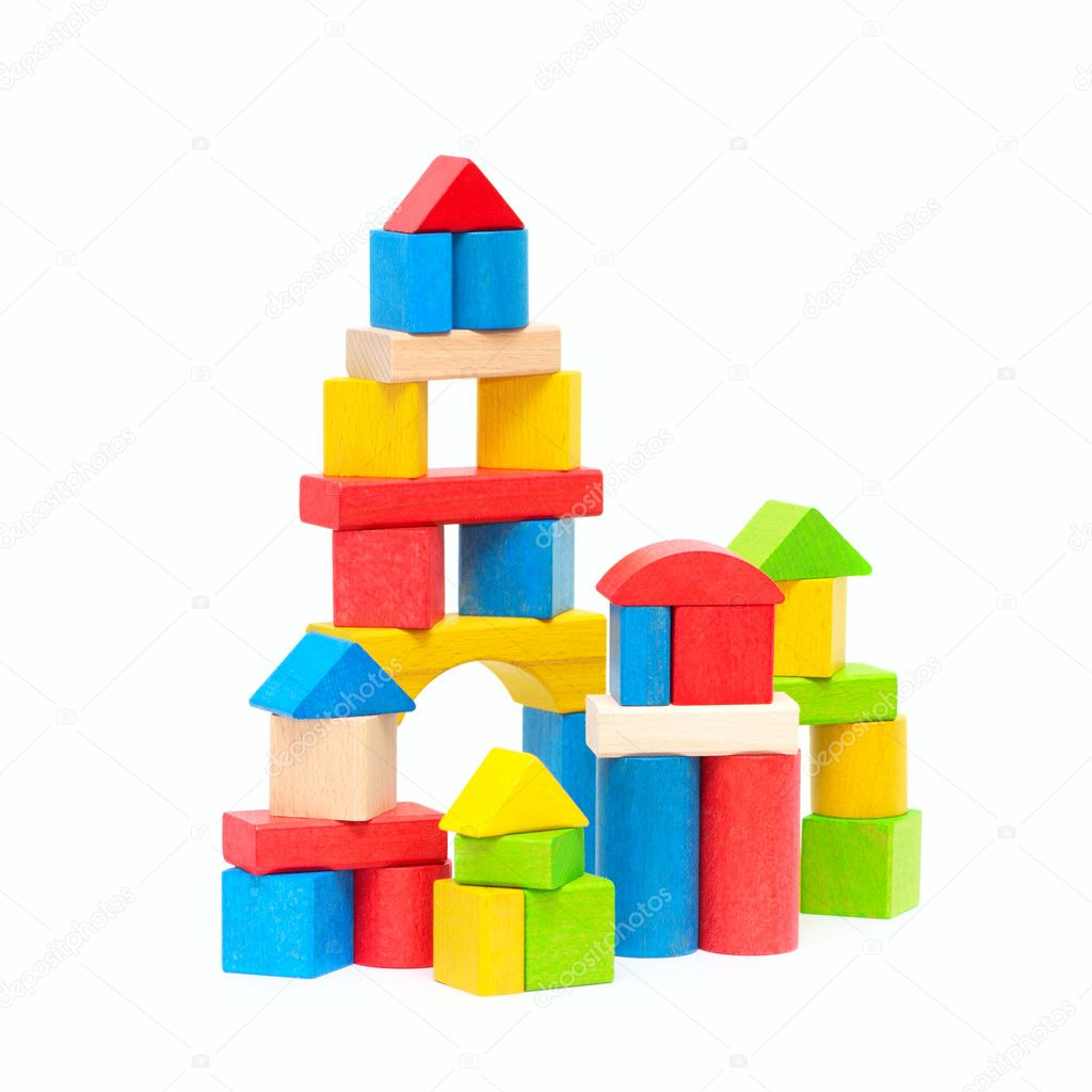 Wooden building blocks isolated on white background — Stock Photo #5792374