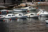 Boats in Dubrovnik harbor — Stock Photo