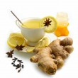 Ginger tea with lemon and spices — Stock Photo