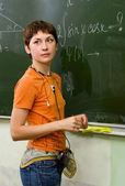 Schoolgirl. Lesson of mathematics — Stock Photo