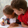 Stock Photo: Elementary school. Two pupils