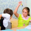 Pupils fight at lesson — Stock Photo