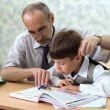 Primary school. Teacher and careless pupil — Stock Photo