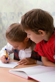 Elementary school. Two pupils — Stock Photo