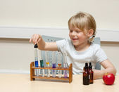 Child playing scientist — Stock Photo