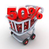 Cart and discount — Stock Photo
