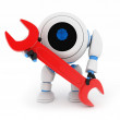 Robot and red key — Stock Photo