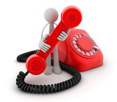 Man and Telephone red — Stock Photo