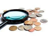 Two main things in numismatics, magnifiers and coins... — Stock Photo