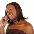 African American Woman Talking to her Phone — Stock Photo