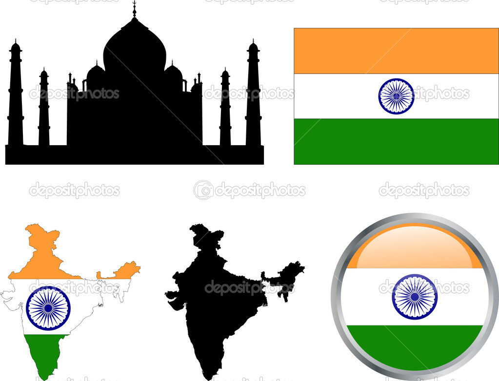 India flag,map and buttons - vector illustration  Stock Vector #5626370