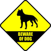 """beware of dog"" sign — Stock Vector"