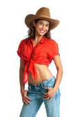 Happy cowgirl with a big smile — Stock Photo