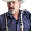 American cowboy with bullwhip — Stock Photo