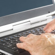 Hands on a laptop computer keyboard - Stock Photo
