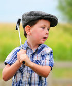 Litte boy golfer — Stock Photo
