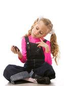 Dziewczyna mówi na telefon — Zdjęcie stockowe