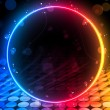 Disco Abstract Circle Box on Black Background - Stock Vector