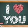 Blackboard with I Love Heart You Message written with Chalk — Stock Vector