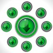 Download Shiny Green Button with Bars — Stock Vector