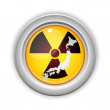 Japan Nuclear Disaster Yellow Button — Stock Vector