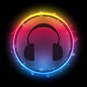 Disco Headphones with Neon Rainbow Circle — Stock Vector