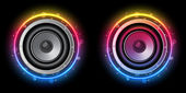 диско динамик с неоновой радуги круга — Cтоковый вектор