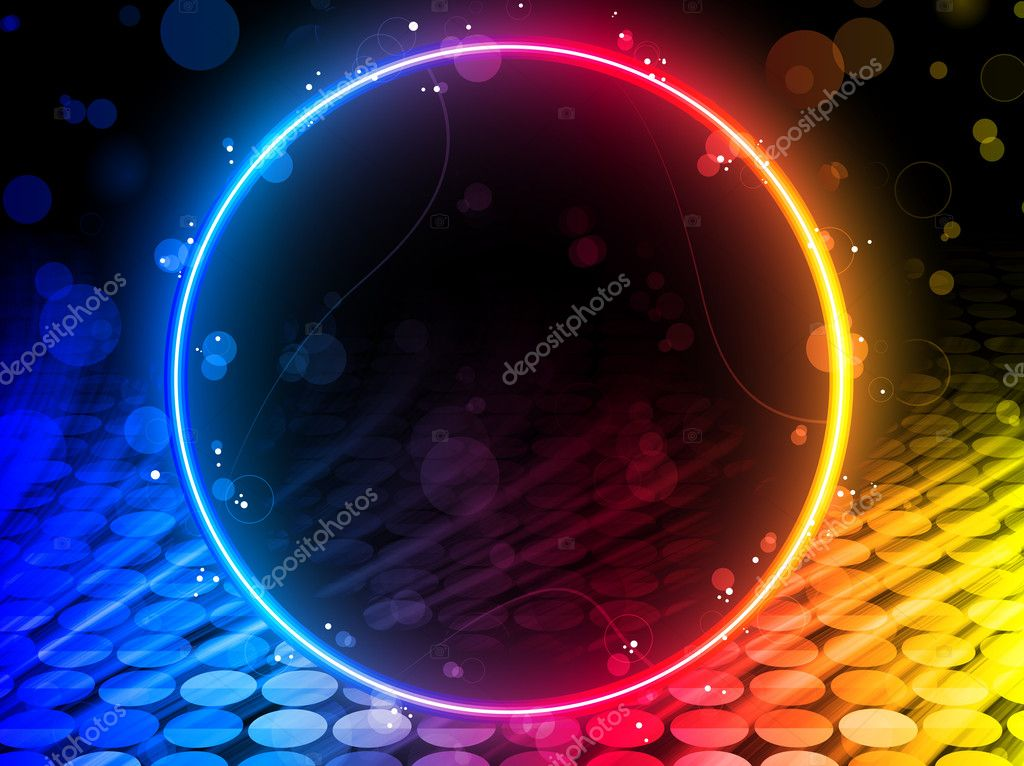 Vector - Disco Abstract Circle Box on Black Background — Stock Vector #5426159