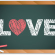 Blackboard with Love Heart Message written with Chalk — Stock Vector
