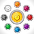 Buttons Colors Web On Off — Imagen vectorial